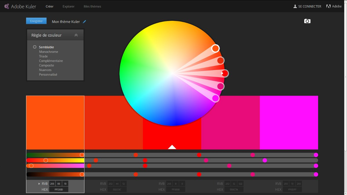 Adobe kuler cr ation de th mes color s guillaume richard - Roue chromatique des couleurs ...
