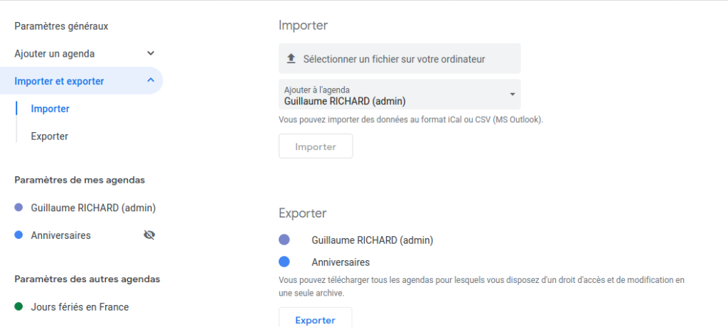 Page d'import-export